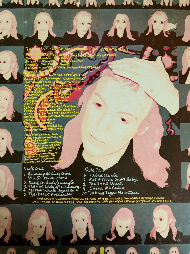 Photo of the back cover art and notes for a long-play record.